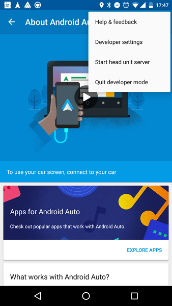 Android Auto Developer Settings